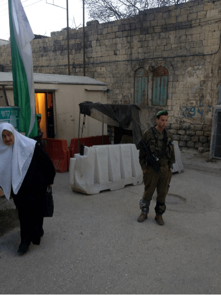 A photo the author took outside a Hebron checkpoint when she stayed in the West Bank after her Birthright trip. (Photo: Hannah Friedstein)