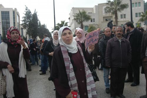 Palestinian teachers protest in Ramallah in anti-government demonstration over salary increases, February 23, 2016. (Photo: Allison Deger)