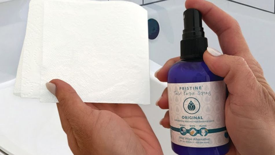 Spritz your toilet paper with spray for a green alternative to flushable wipes.