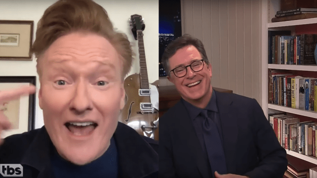 Stephen Colbert and Conan O'Brien get real on video chat about how much they miss live audiences