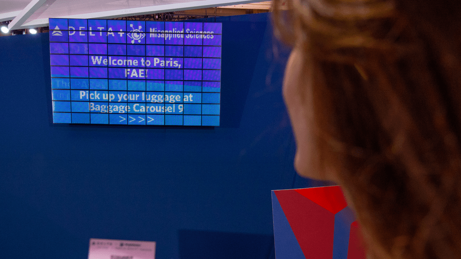 Mind-blowing Delta board shows 100 passengers personalized flight details at the same time