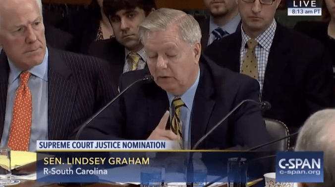 Lindsey Graham said in 2016 to use his words against him. Twitter followed through.