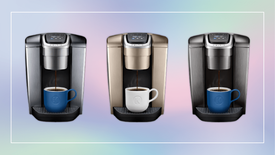Keurig's premium K-Elite coffee maker comes in three different finishes(left to right): Brushed Silver, Brushed Gold, and Brushed Slate.