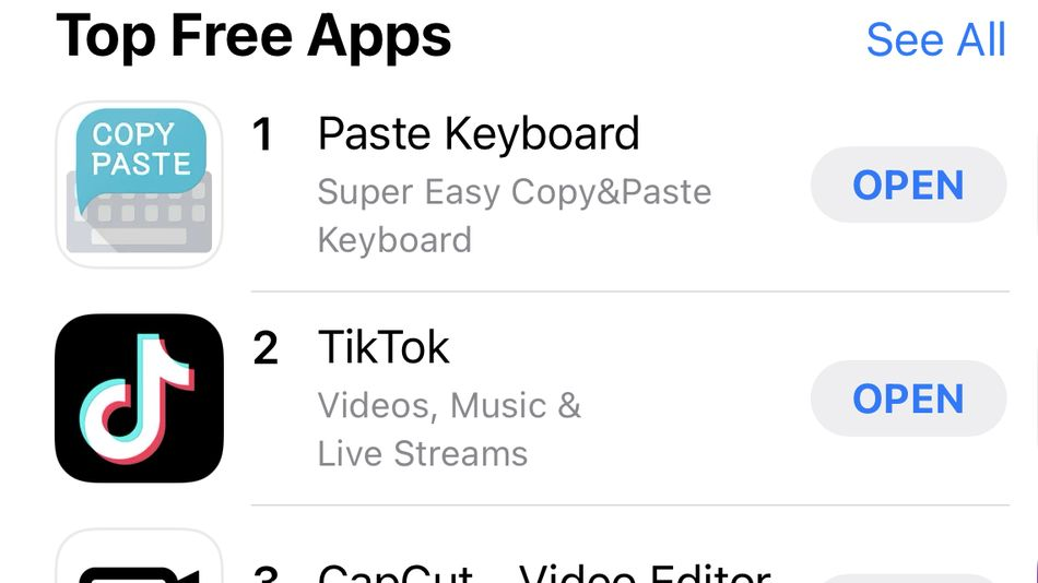 Move over, TikTok. Paste Keyboard tops the App Store.