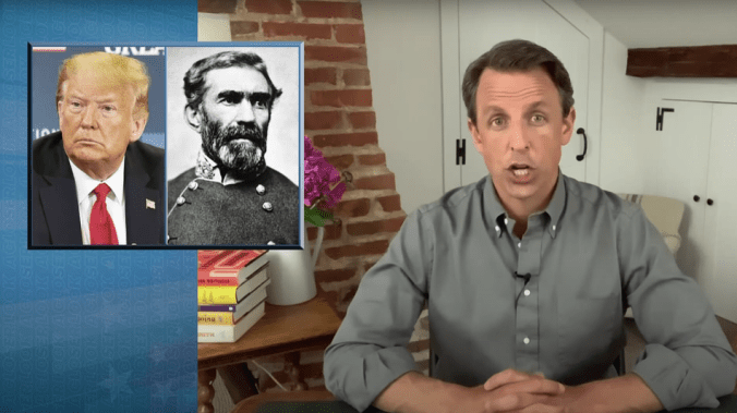 Seth Meyers slams Trump for defending 'dips**t' Confederate leaders