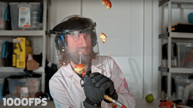 Watch the Slow Mo Guys spin a levitating apple until it explodes