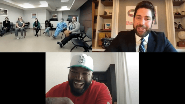 John Krasinski celebrates healthcare heroes with the help of David Ortiz and the Red Sox