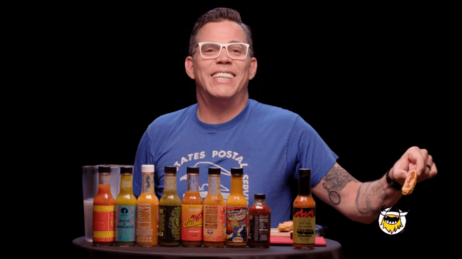 Steve-O returns to 'Hot Ones' for a season finale stunt worthy of 'Jackass'