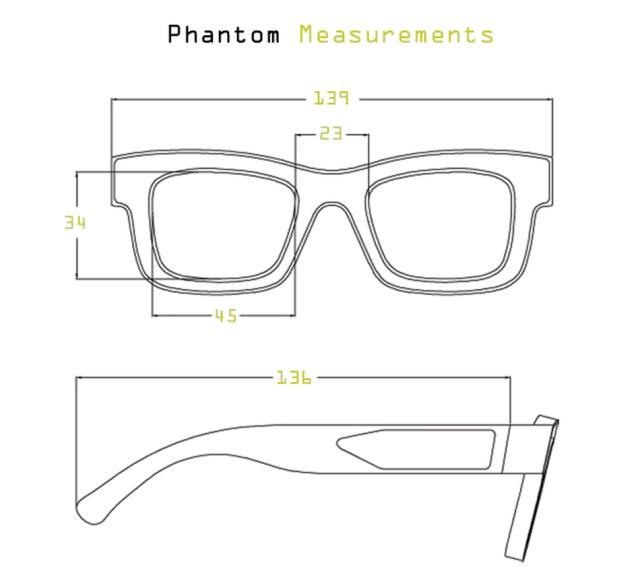 Measurements of the Phantom frames.