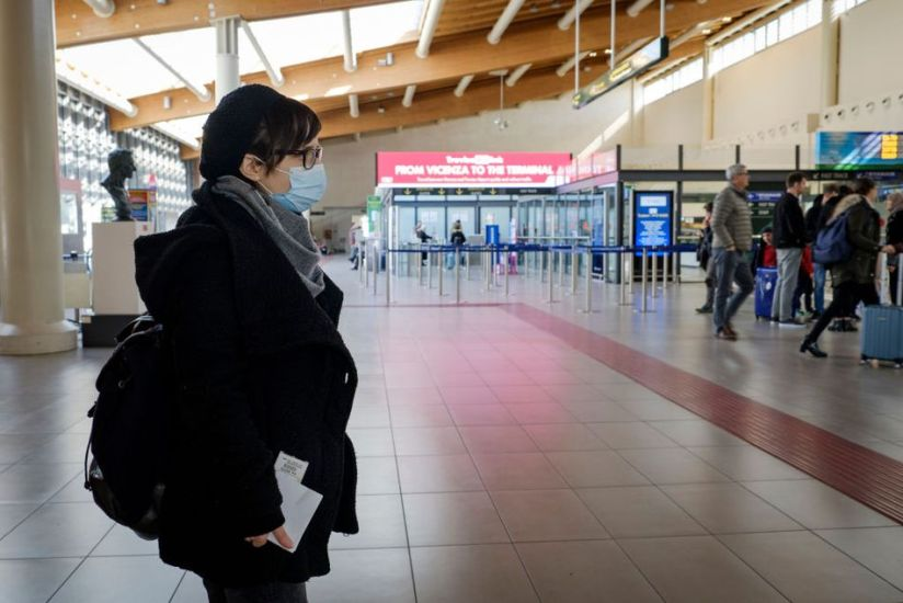 The coronavirus epidemic has hit Italy hard with over 3,000 cases and over 100 deaths. Here is an empty Treviso airport, near Venice, where travelers wear masks.