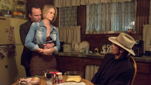 Boyd (Walton Goggins), Ava (Joelle Carter) and Raylan (Timothy Olyphant) share a tense moment on 'Justified.'