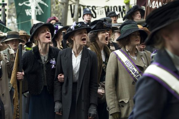 Anne-Marie Duff, Carey Mulligan, and Helena Bonham Carter in  'Suffragette'.