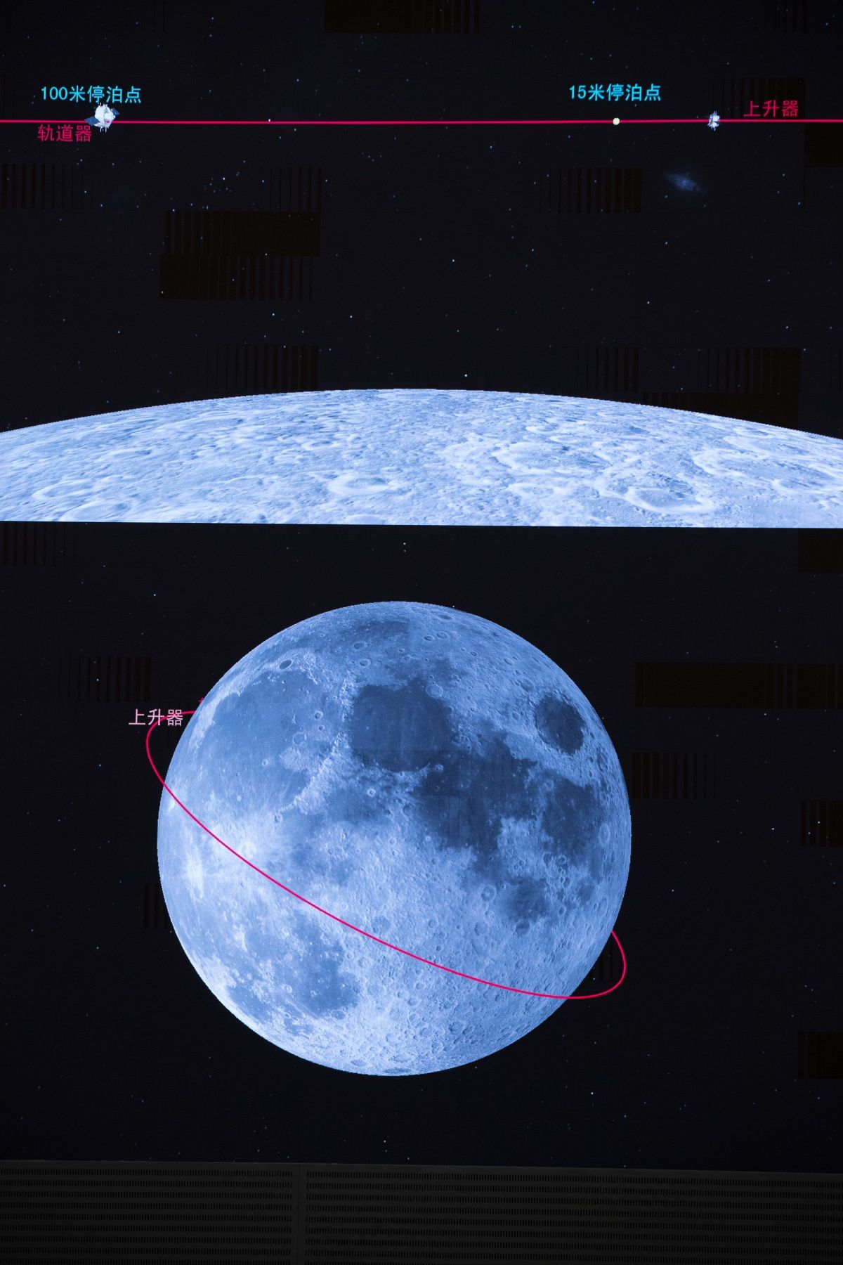 A screen image as parts of China's Chang'e-5 probe connected to launch its sample back towards Earth