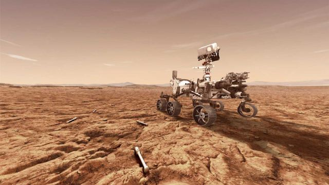 Artist's rendition of NASA's Perseverance Mars rover, which was launched in July