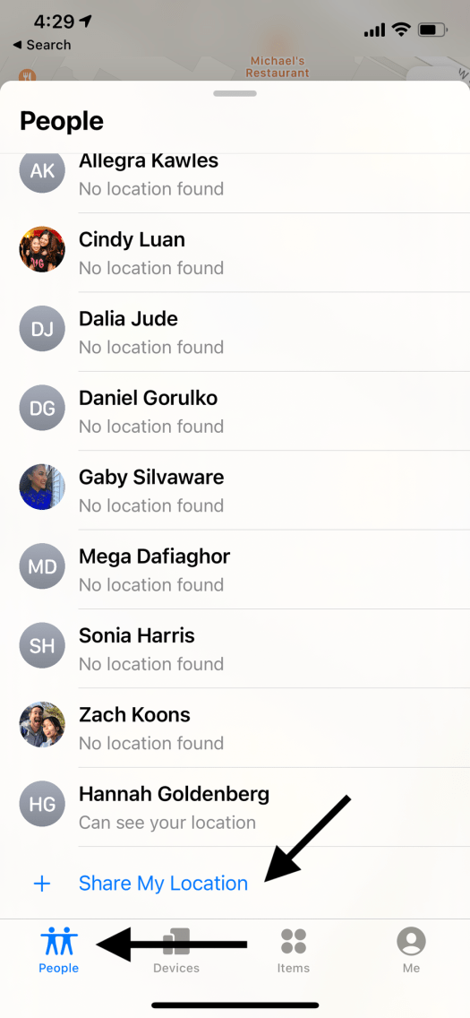 If you don't have anyone else's location yet, this list will be empty.