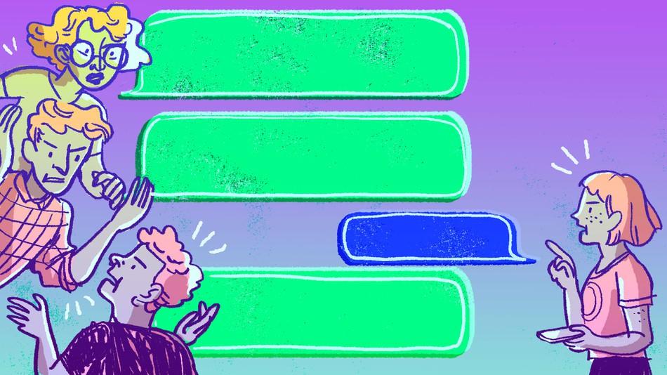 Blue Vs Green Text Meme