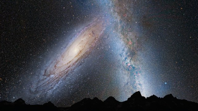 A conceptual illustration of the view from Earth as Andromeda collides with the Milky Way.