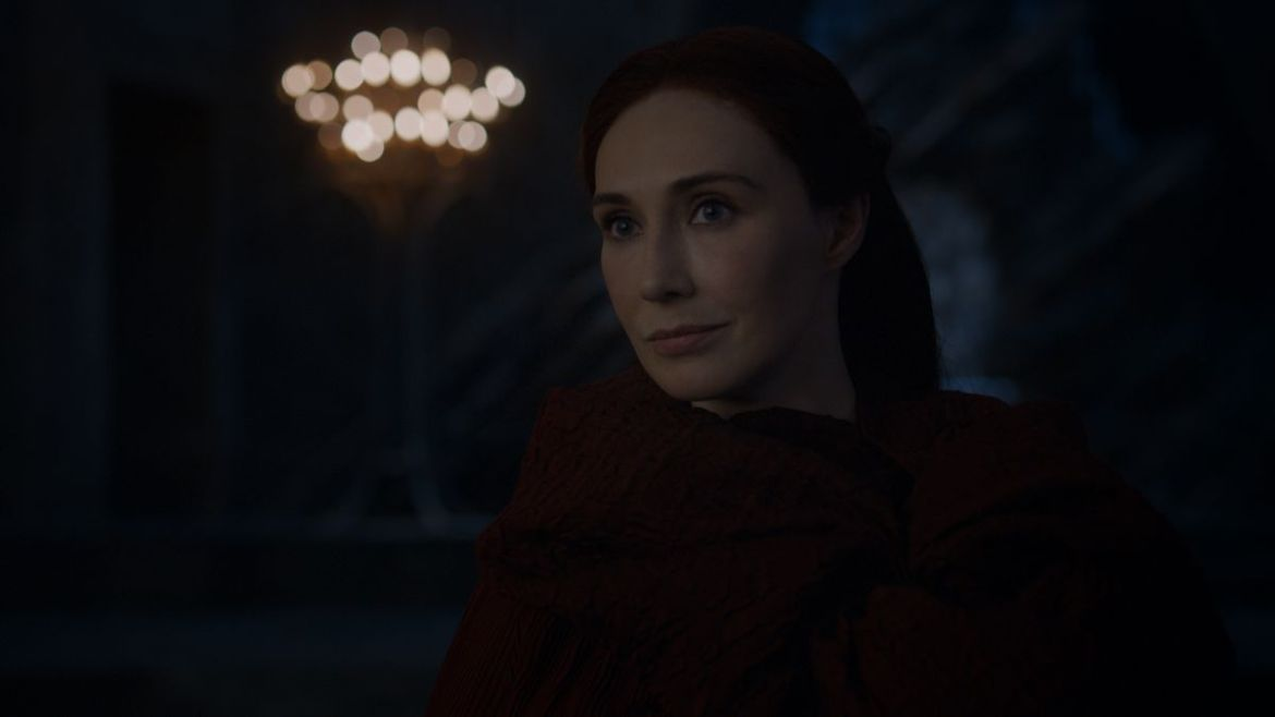 Melisandre has to get used to the darkness she is always talking about.