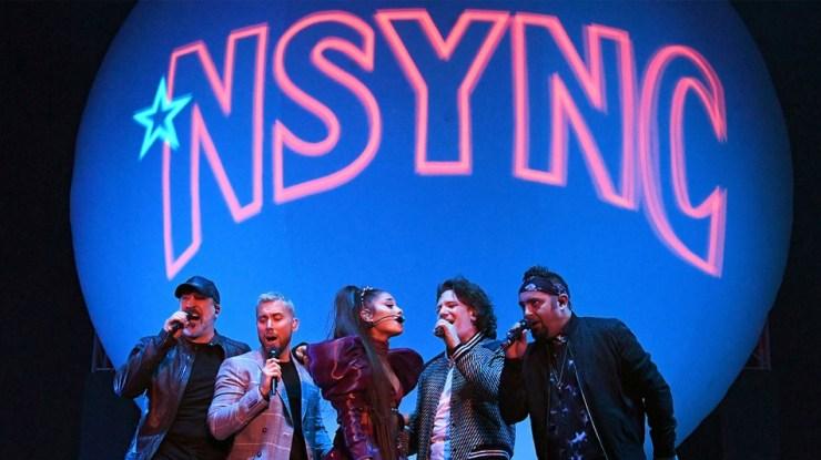 Ariana Grande performing with *NSYNC (minus Justin Timberlake)