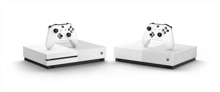 Xbox One S and Xbox One S All-Digital Edition, side by side