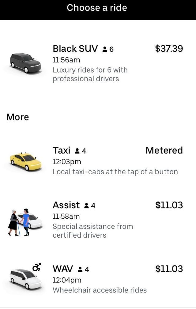 Deep within the Uber app you can find WAV rides -- if they're available where you live.