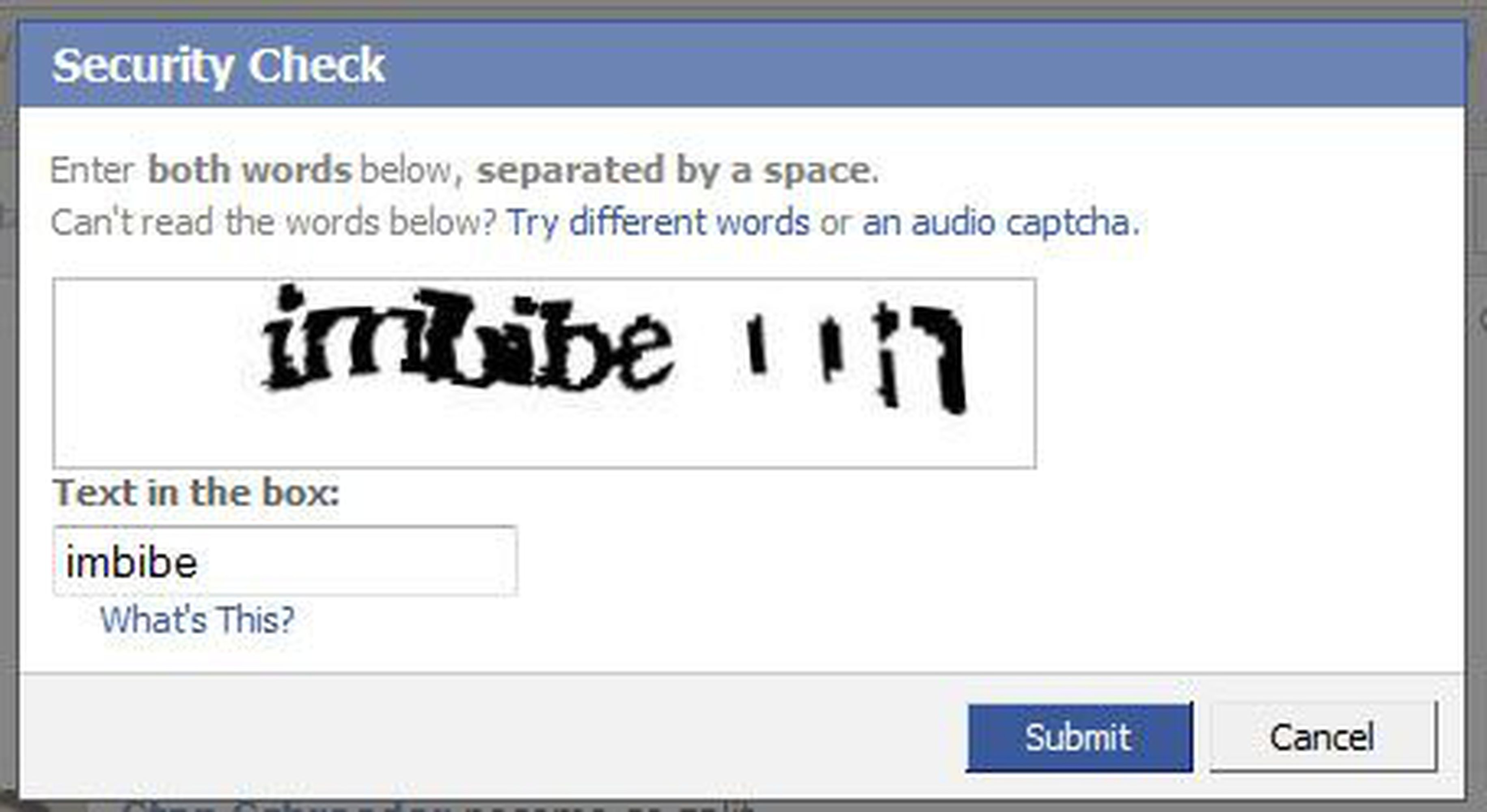 facebook captcha what you