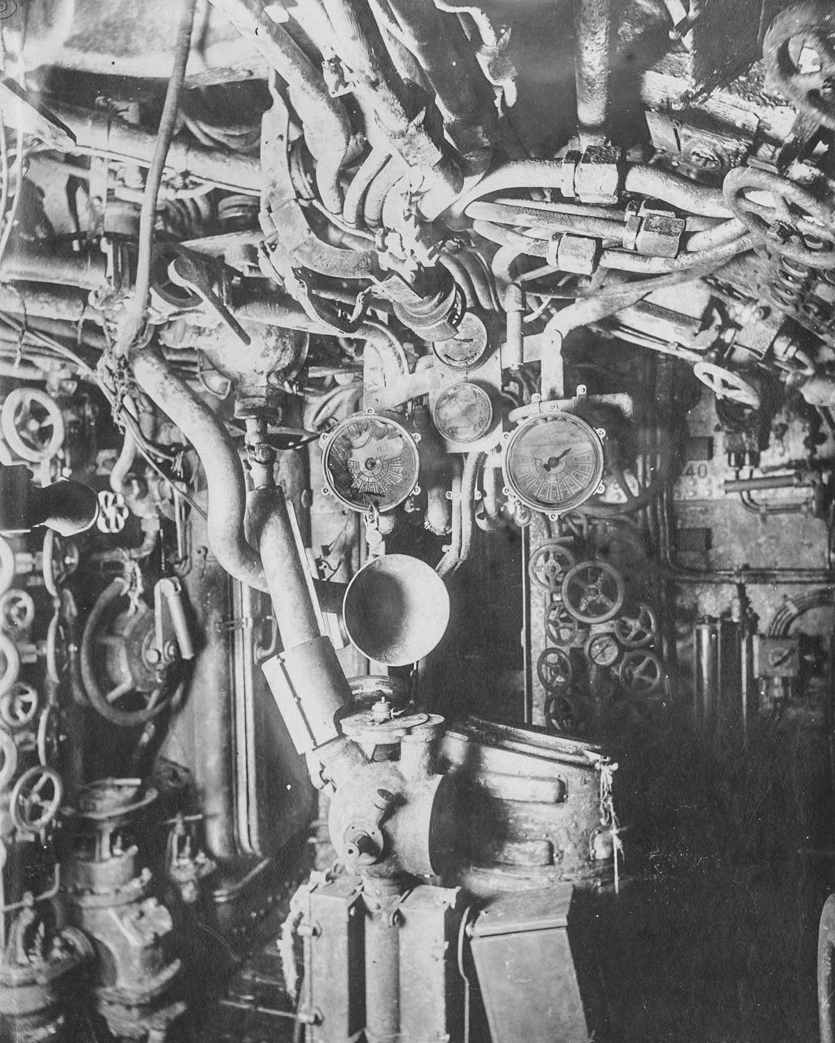 medium resolution of control room the gyro compass steering control shaft engine telegraphs and voice pipes are visible