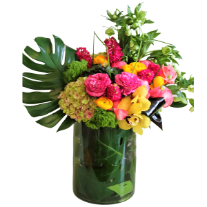 Luxurious compact flower arrangement.