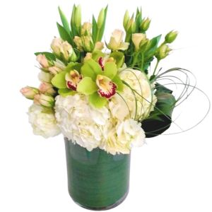 Green and white vase arrangement