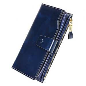 Cartera/monedero de gran formato, color azul