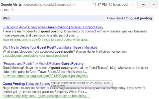Google Alerts Guest Posting