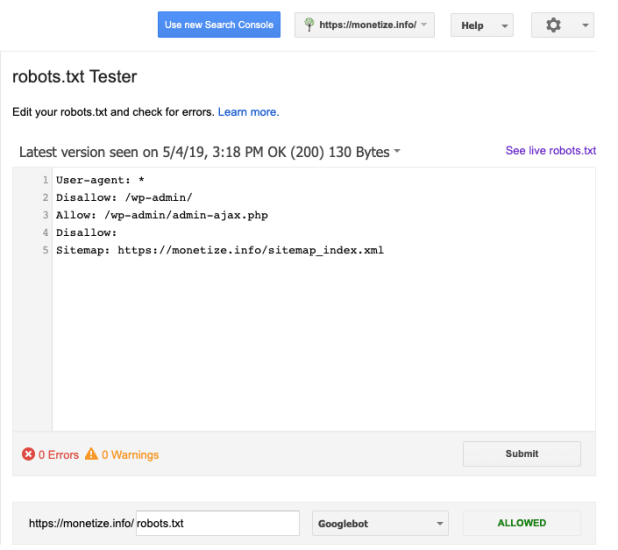 Robots.txt Tester in Google Search Console