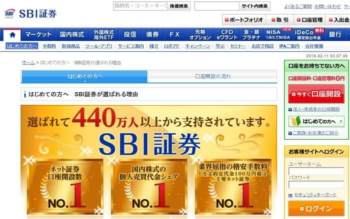 SBI証券の公式ページ