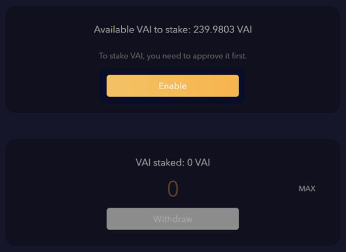 VAIステーク画面で「Enable」をクリックする