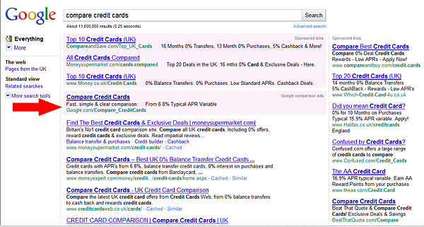 Compare credit cards on Google