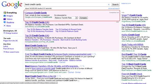 "Google ""best credit cards"" search"