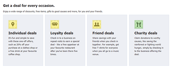 Facebook Deals deal types