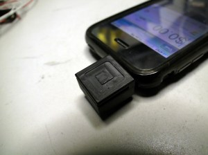 Square dongle close up