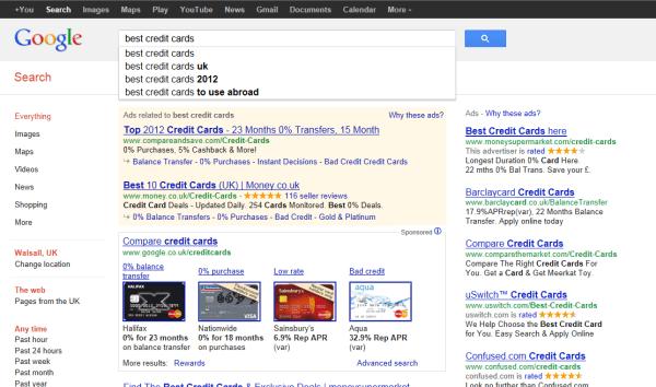 Google credit card comparison