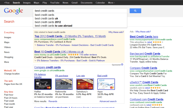 Google credit card comparison