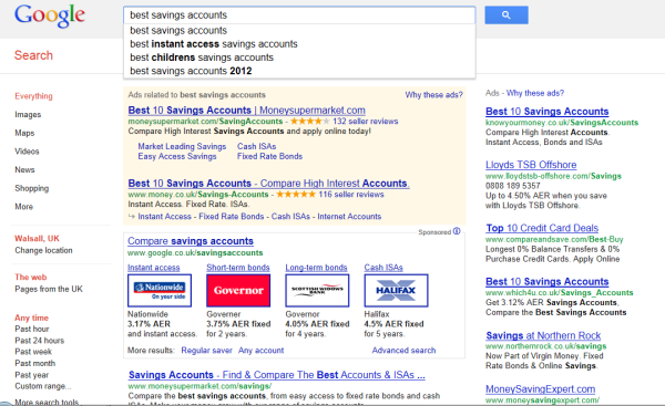 Google savings account comparison