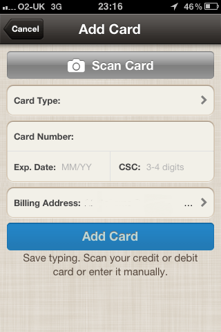 Add a card manually