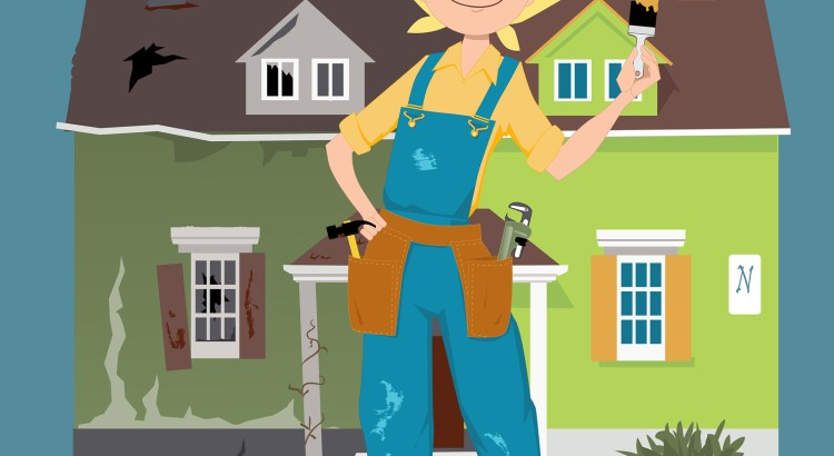 Flipping a house. Cartoon woman in overalls, with construction tools standing in front of a house divided into before and after renovation parts