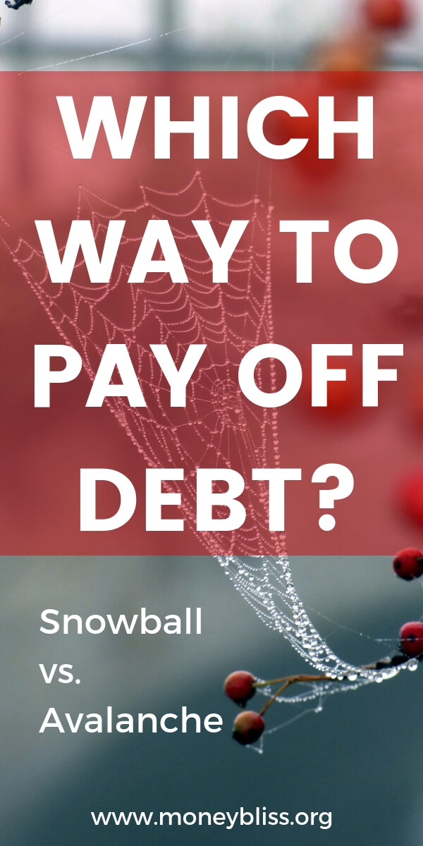 Is there a proper way to get out of debt? On one income or when you're broke. Pick a method to pay off debt - debt snowball or debt avalanche. Find financial peace fast. Get tips and motivation to pay off debt now. Plus free worksheets and printables. #debt #moneybliss