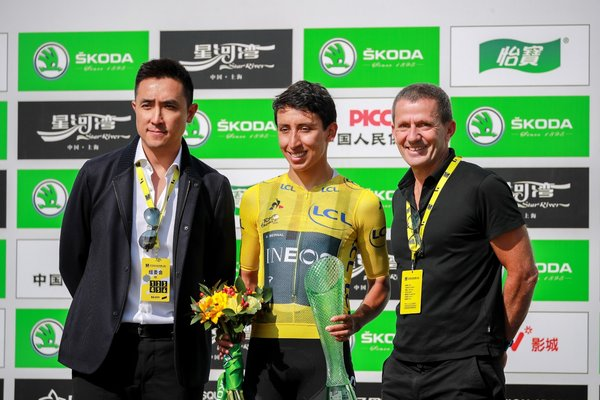 Mr. Steve Lau (first on the left), Co-chairman and Chief Executive Officer of Activation Group, and Yann Le Moenner, Chief Executive Officer of Amaury Sport Organization (A.S.O.), with Egan Bernal (middle), Tour de France 2019 champion.