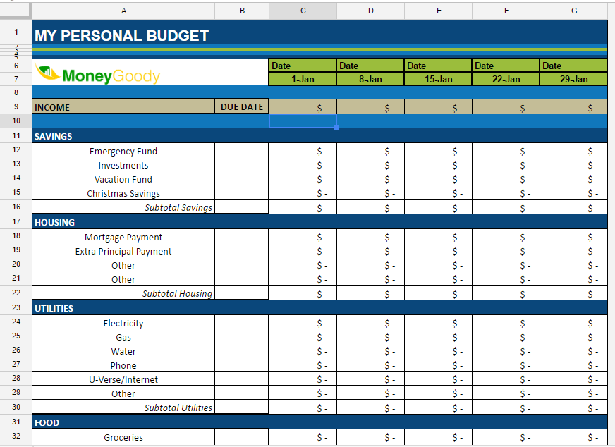 Free Monthly Budget Spreadsheet | Money Goody