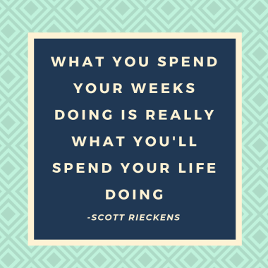 What you spend yours weeks doing is really what you'll spend your life doing. Isn't it worth taking 5 minutes to determine whether you're spending your time correctly?
