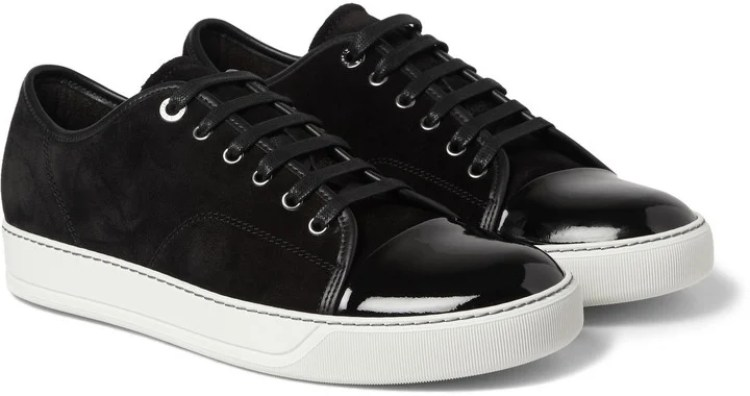 Lanvin Cap-Toe Suede and Patent-Leather Sneaker