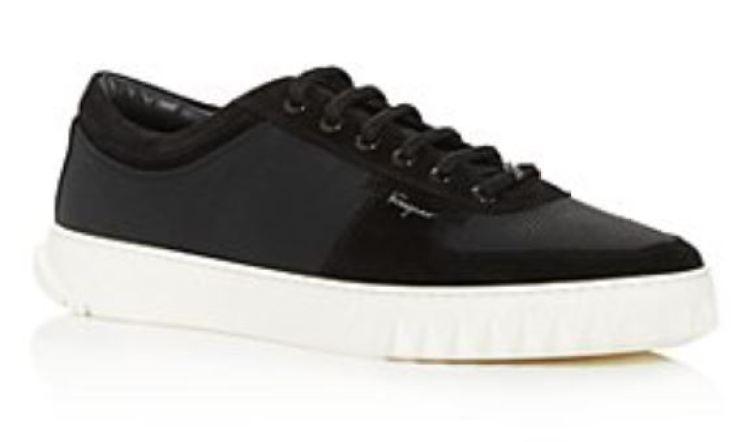 Salvatore Ferragamo Men's Raintop Low Top Sneakers - BlackGray