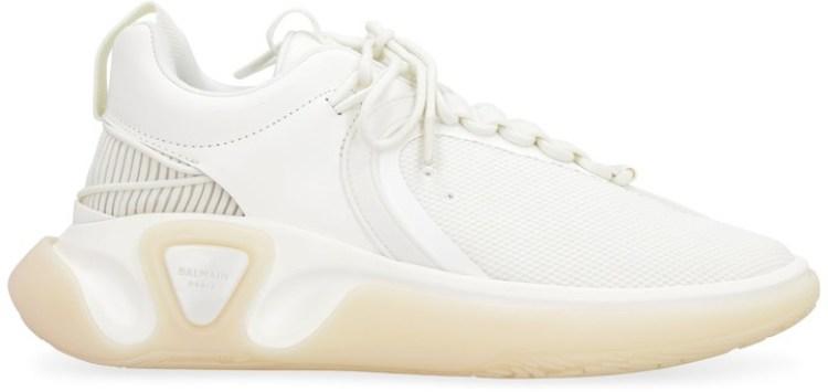 Balmain White Gummy Leather and Mesh B-Runner Sneakers